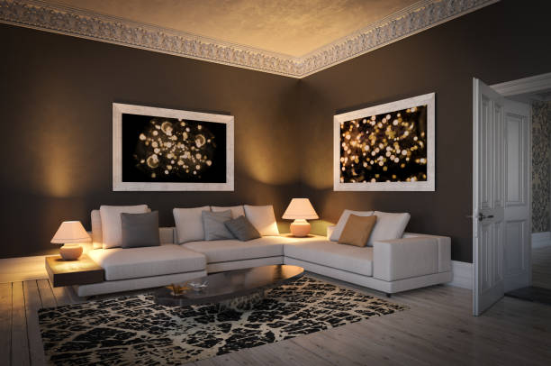 scandinavian living room - low lighting stock photos and pictures