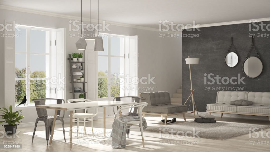 Scandinavian Living Room With Big Windows Garden Panorama In Background Minimalist White And Gray Interior Design Stock Photo Download Image Now Istock
