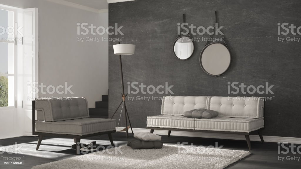 Scandinavian Living Room With Couch And Soft Carpet ...