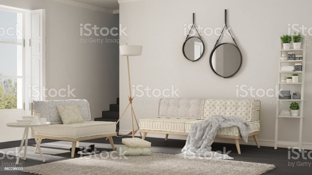 Fantastic Scandinavian Living Room With Couch Armchair And Soft Fur Rug Minimalist White And Gray Interior Design Stock Photo Download Image Now Beatyapartments Chair Design Images Beatyapartmentscom