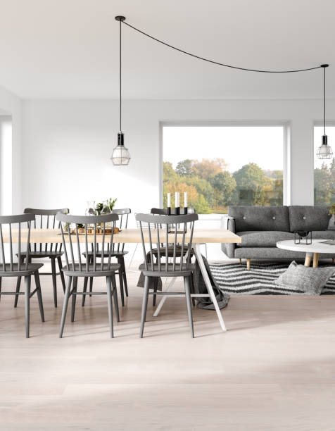 scandinavian living space - nelleg stock photos and pictures