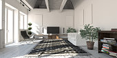 Scandinavian style designed loft apartment living room interior scene. ( 3d render )