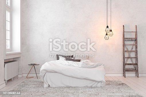 istock Scandinavian, loft interior empty white bedroom. 3d render illustration mock up. 1013606144