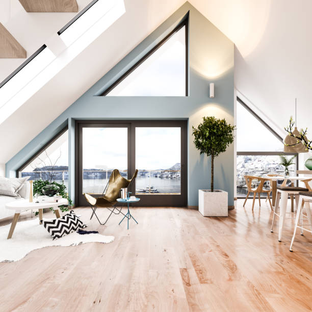 scandinavian loft interior - scandinavia stock pictures, royalty-free photos & images