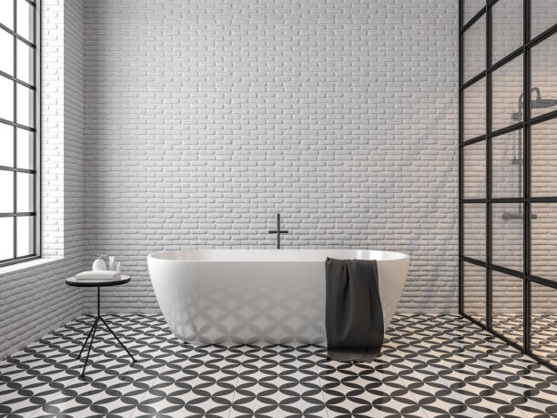 스 칸디 나 비아 로프트 스타일 욕실 3d 렌더링 - 흰색 벽돌 담 뉴스 사진 이미지