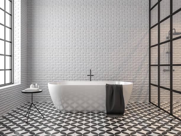 scandinavian loft style bathroom 3d render - azulejo imagens e fotografias de stock