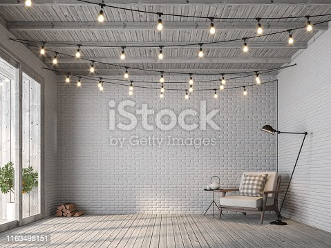 Scandinavian loft style living room 3d render,There are old wood floor and white brick wall, decorated with white fabric chair, Decorated with string lights on the ceiling seem prepared for a party.
