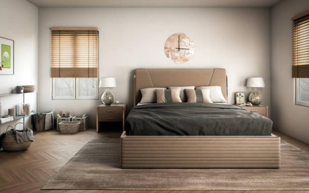 Scandinavian Master Bedroom stock photo