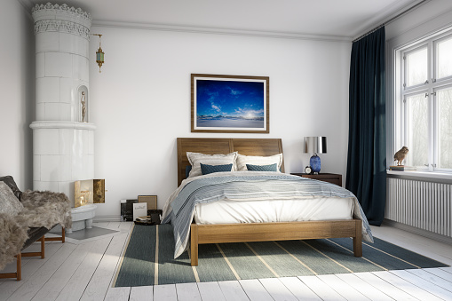 Digitally generated Scandinavian style master bedroom interior design.  The scene was rendered with photorealistic shaders and lighting in Autodesk® 3ds Max 2020 with V-Ray 5 with some post-production added.