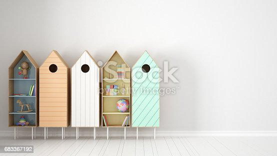 Scandinavian Minimalist Background With Colorful Bookshelf On White Parquet Flooring Child Kids Room Interior Design Stock Photo More Pictures Of