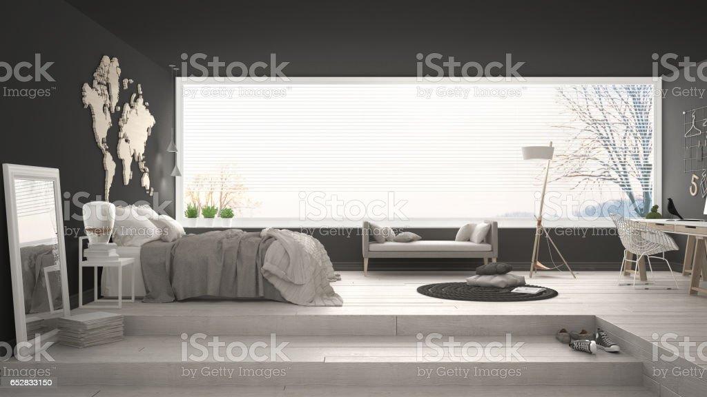 Scandinave minimaliste chambre avec bureau un design intérieur