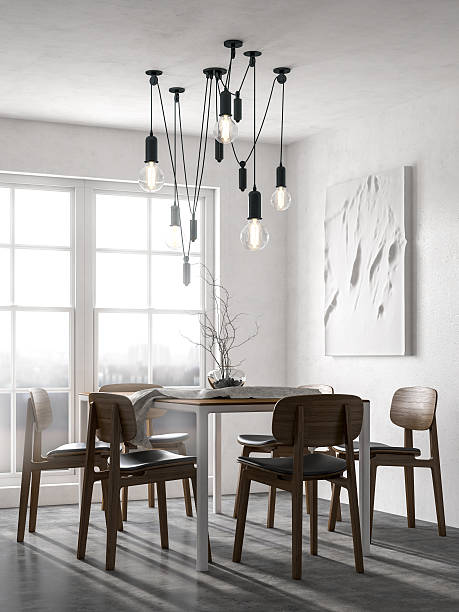 scandinavian minimalist dining room - nelleg stock photos and pictures