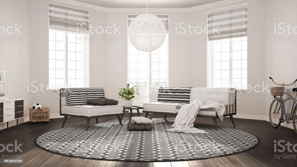 Modern Interieur Woonkamer : Minimalistische scandinavische woonkamer met zitbank fauteuil en