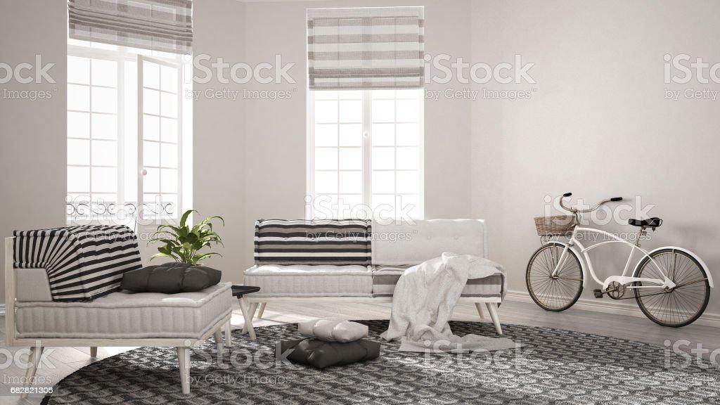 Skandinavische Minimalistische Wohnzimmer Mit Sofa Sessel Und