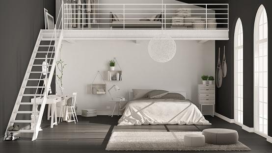 Scandinavian Minimalist Loft Bedroom With Home Office Dark Black Walls Classic Interior Design Stock Photo Download Image Now Istock