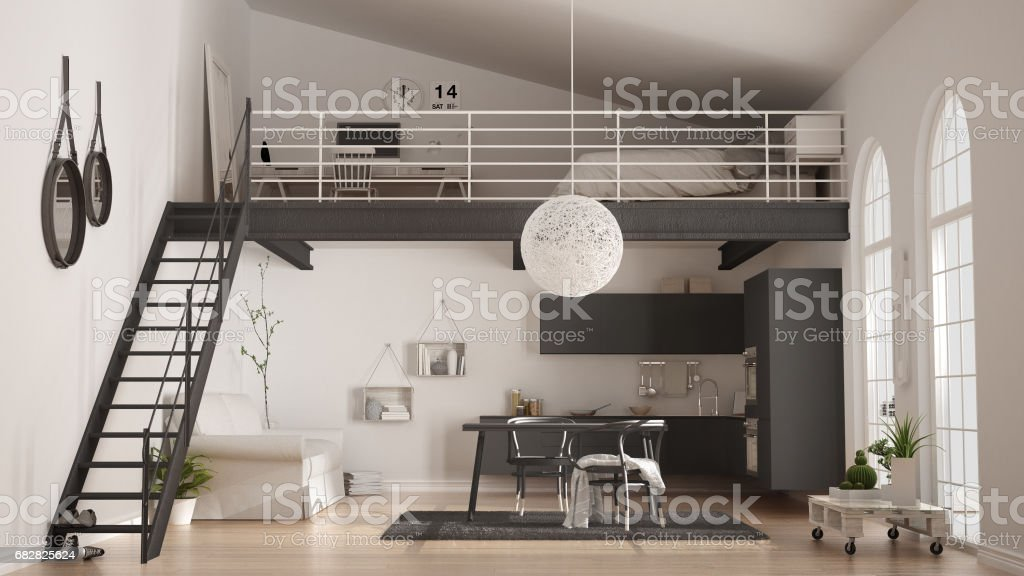 Scandinavian minimalist loft, one-room apartment with gray kitchen, living and bedroom, classic interior design Lizenzfreies stock-foto