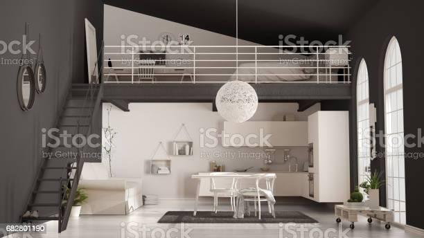 Scandinavian minimalist loft oneroom apartment with white kitchen picture id682801190?b=1&k=6&m=682801190&s=612x612&h=szby44srkr6muz5dkeisrd xnlp1brrliqghsdxgehm=