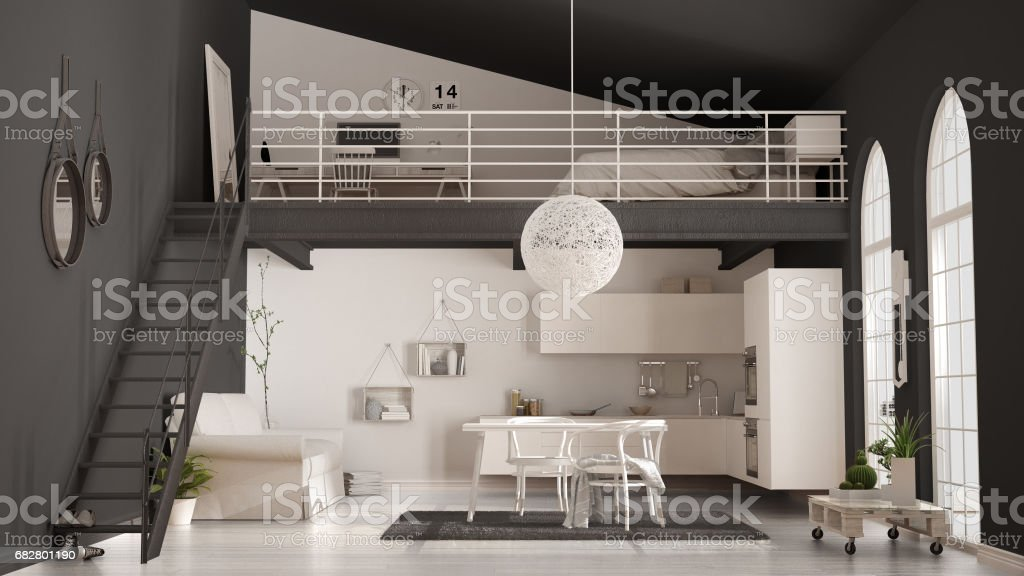 Scandinavian minimalist loft, one-room apartment with white kitchen, living and bedroom, classic interior design stock photo