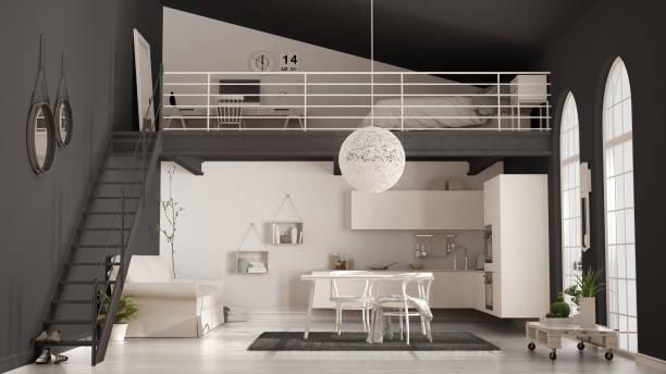 skandinavisches minimalistisches loft, einzimmerwohnung mit weißer küche, wohn- und schlafzimmer, klassische inneneinrichtung - küche italienisch gestalten stock-fotos und bilder