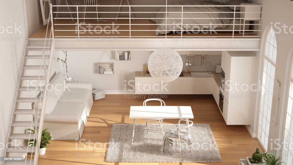 Scandinavian Minimalist Loft Oneroom Apartment With White Kitchen ...