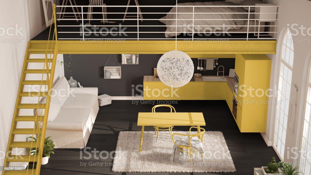 Foto De Loft Minimalista Escandinavo Apartamento De Um Quarto Com Cozinha Amarela Sala De Estar E Quarto Vista Superior Design De Interiores Classico E Mais Fotos De Stock De Aconchegante Istock