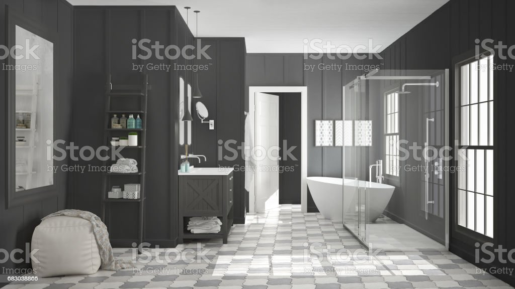 Scandinavian minimalist white and gray bathroom, shower, bathtub and decors, classic vintage interior design foto de stock royalty-free