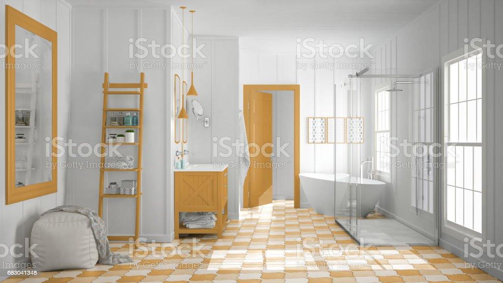 Scandinavian minimalist white and orange bathroom, shower, bathtub and decors, classic vintage interior design foto de stock royalty-free