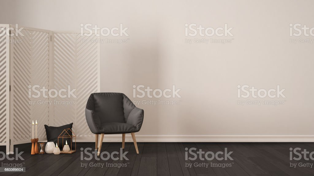 Skandinavische Minimalistischen Weissen Hintergrund Mit Sessel Bildschirm Kerzen Und Dekoration Auf Parkettboden Wohnzimmer Interior Design Stockfoto Und Mehr Bilder Von 1980 1989 Istock