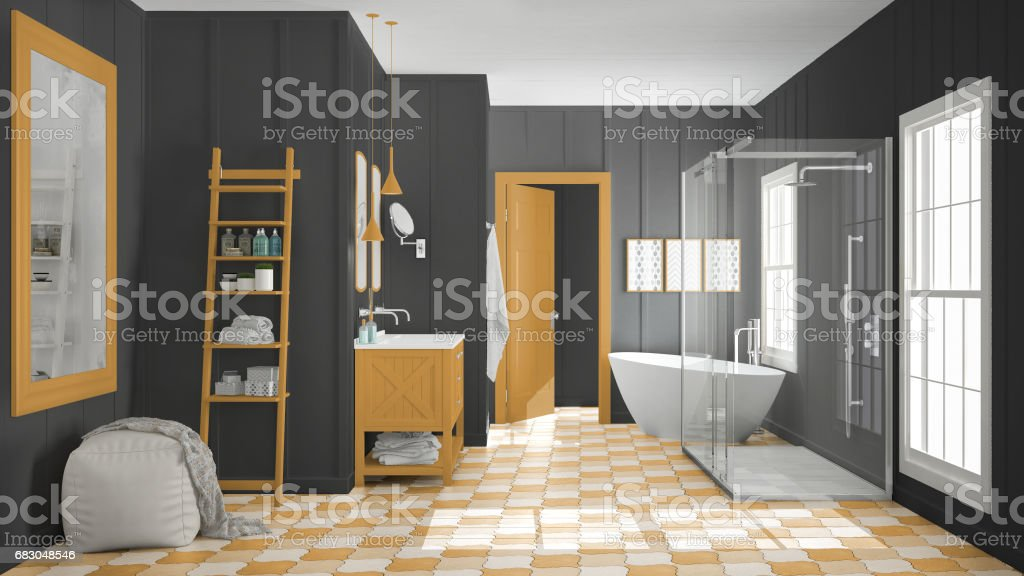 Scandinavian Minimalist White Gray And Orange Bathroom Shower