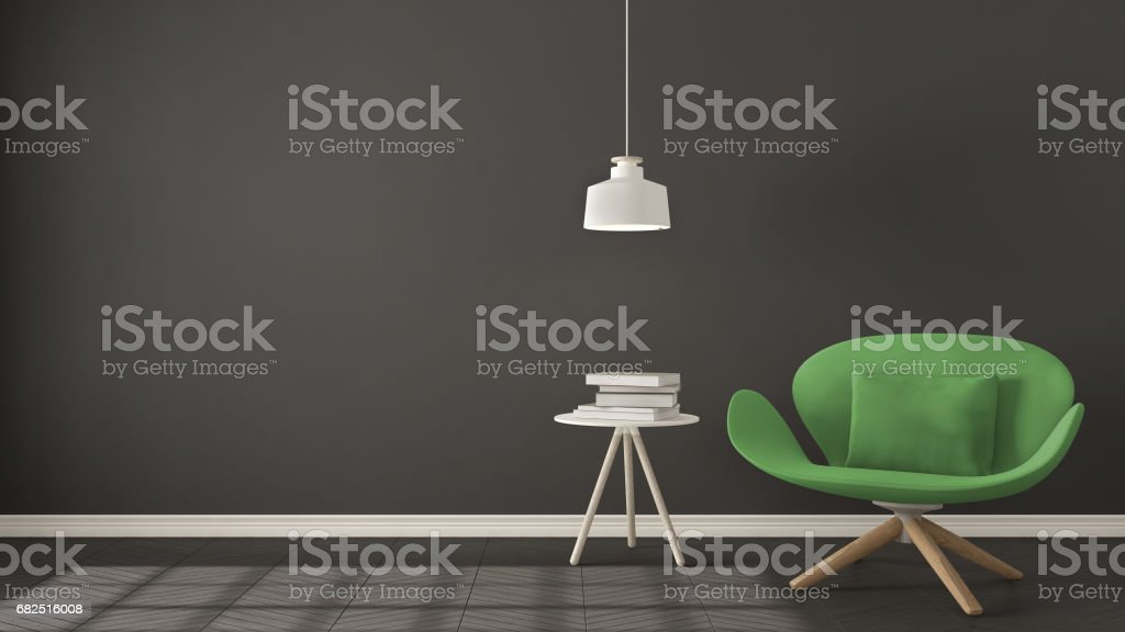 Scandinavian minimalistic background, green armchair with table and pendant lamp on herringbone natural parquet flooring, interior design Lizenzfreies stock-foto