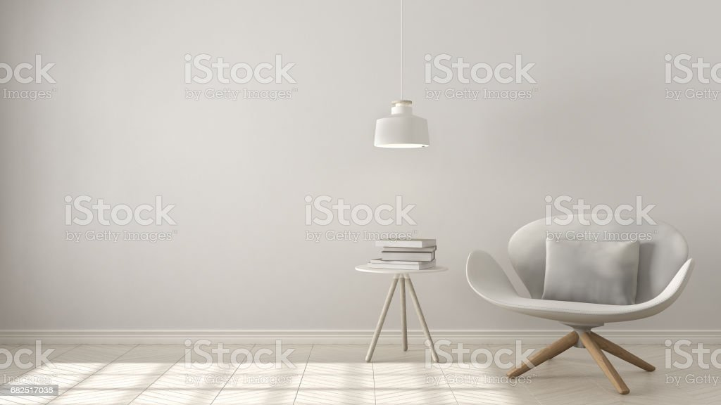 Scandinavian minimalistic background, white armchair with table and pendant lamp on herringbone natural parquet flooring, interior design royalty-free stock photo