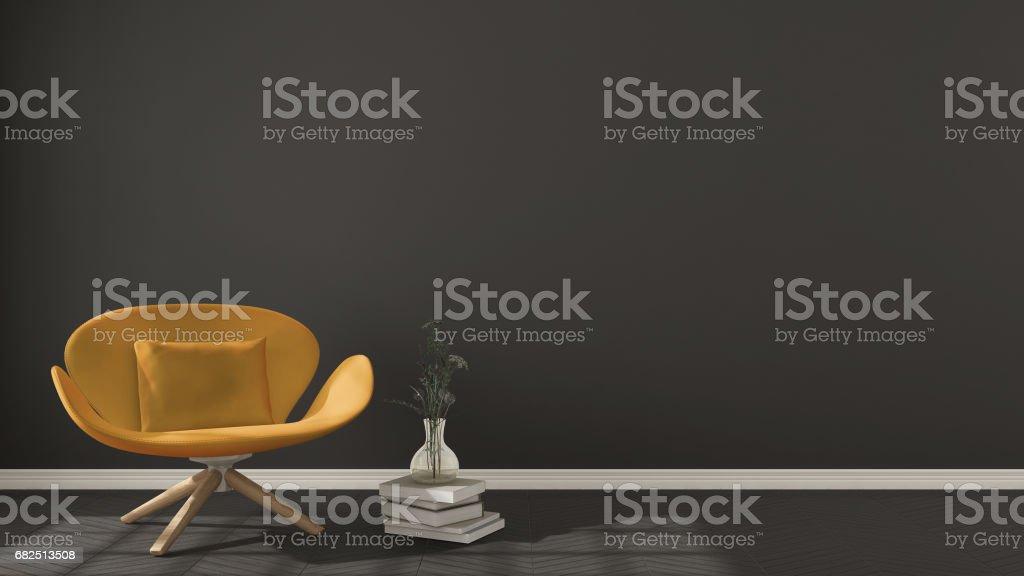 Scandinavian minimalistic background, with orange armchair on herringbone natural parquet flooring, interior design Lizenzfreies stock-foto