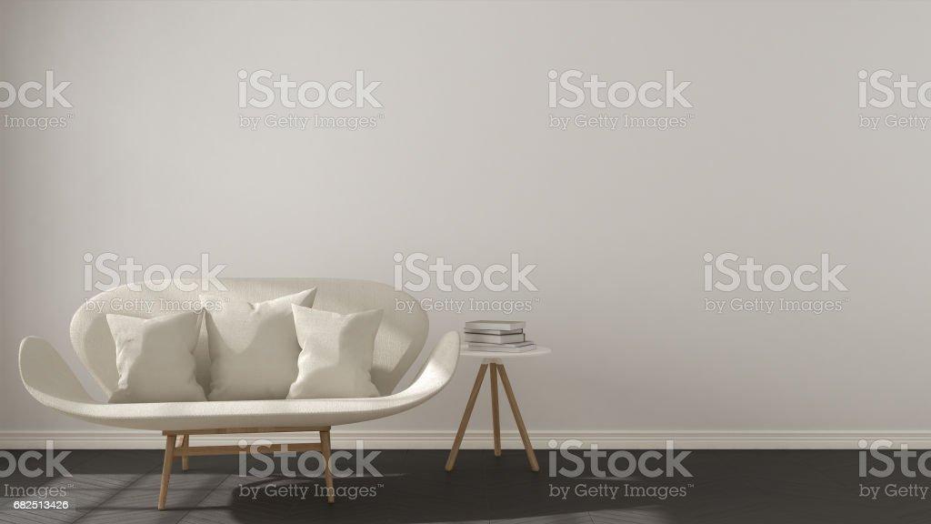 Scandinavian minimalistic background, with white sofa on herringbone natural parquet flooring, interior design Lizenzfreies stock-foto