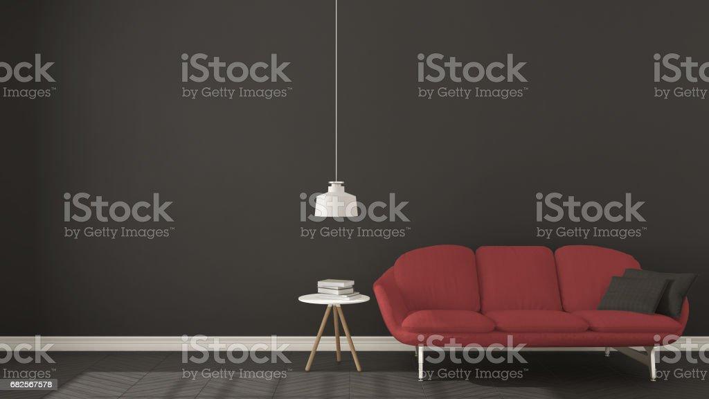 Scandinavian Minimalistic Dark Background With Red Sofa On ...