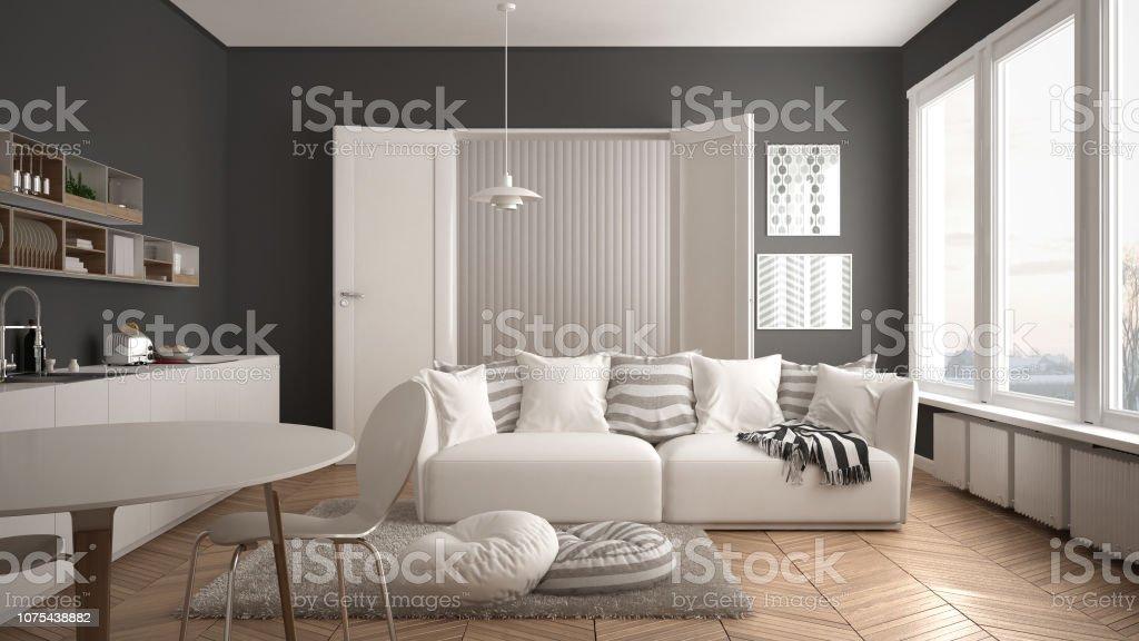 Skandinavische Moderne Wohnzimmer Mit Küche Esstisch Sofa ...