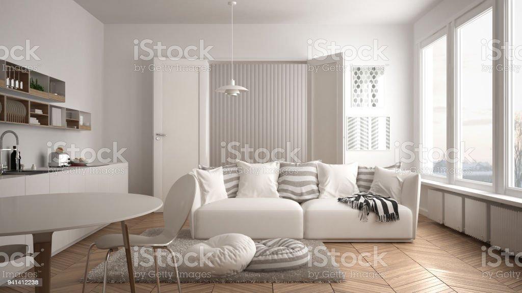 Skandinavische Moderne Wohnzimmer Mit Küche, Esstisch, Sofa Und Teppich Mit  Kissen, Minimalistischen Weißen