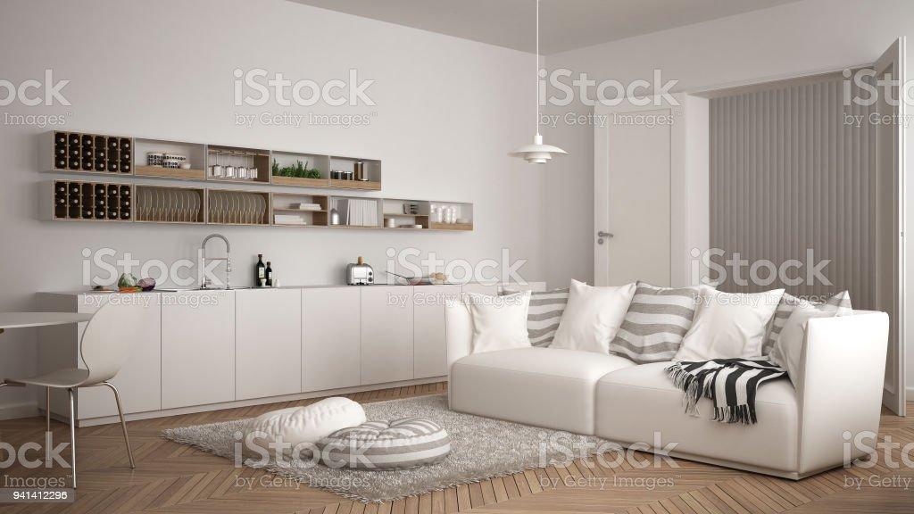 Skandinavische Moderne Wohnzimmer Mit Küche Esstisch Sofa Und