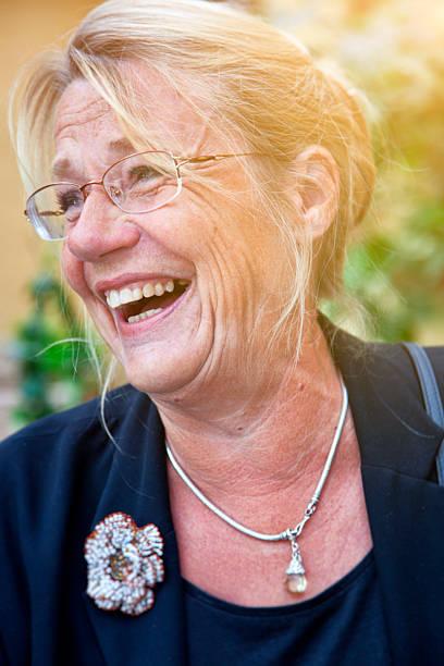 Scandinavian Senior Woman Laughing. stock photo