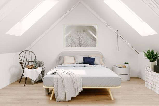skandinavisches zimmer dachzimmer interieur - schlafzimmer stock-fotos und bilder
