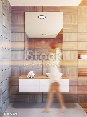 istock Scandinavian style bathroom interior, sink, woman 1131673205