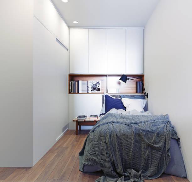 scandinavian style bedroom interior. stock photo