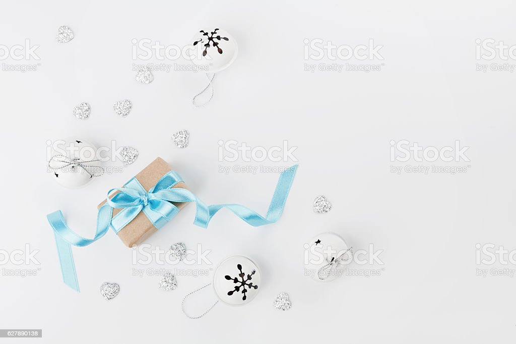 Scandinavian style. Christmas decorations with gift box. Flat lay. Copyspace. stock photo