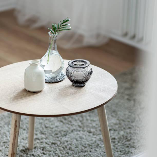 Scandinavian style coffee table stock photo