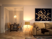 Digitally generated luxury Scandinavian interior scene with high quality furniture.