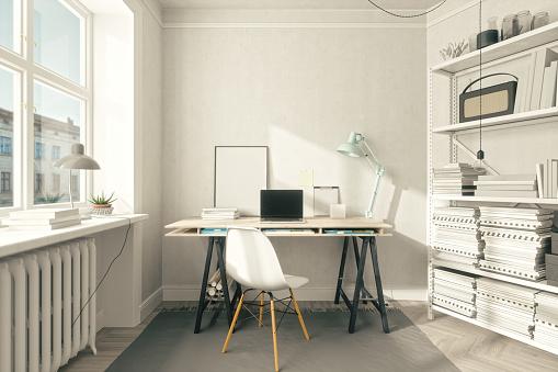 istock Scandinavian Style Home Office Interior 1075995312