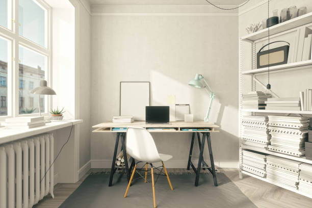 scandinavian style home office interior - estudio imagens e fotografias de stock