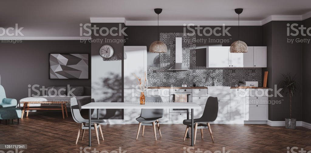 Scandinavian Style Kitchen With Patterned Tiles And Bedroom Stock Photo Download Image Now Istock