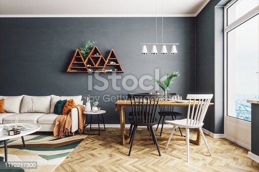 istock Scandinavian Style Living And Dining Room 1172217300
