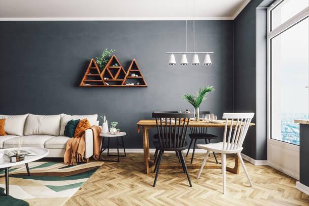 스칸디나비아 스타일의 거실 및 식당 - 모던 양식 뉴스 사진 이미지