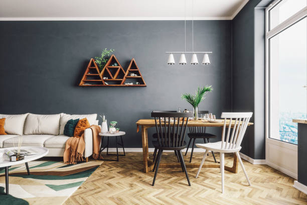 Scandinavian Style Living And Dining Room Scandinavian style living and dining room. scandinavian culture stock pictures, royalty-free photos & images